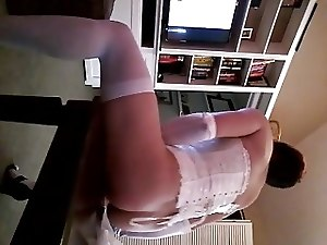 Hot Crossdresser plays with self!